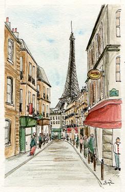 croquis rue parisienne tour eiffel