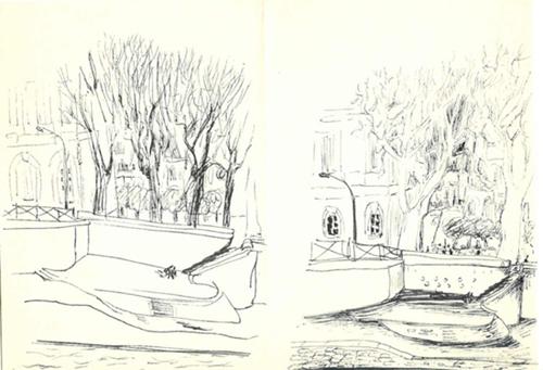 dessin quais de seine louvre