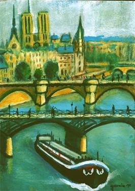 la seine pont des arts peinture