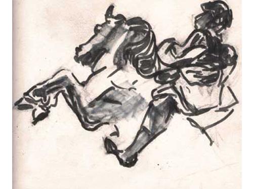 dessin statue louis14 louvre