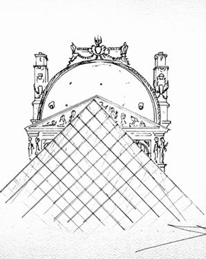 pyramide du louvre croquis