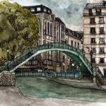 Dessin du Canal Saint Martin par Chloé Roux