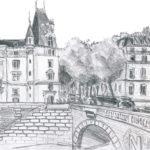 Dessin du Pont Saint-Michel par Chloé Roux
