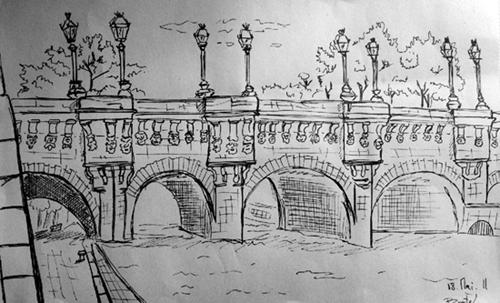 dessin feutre pont neuf