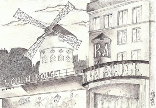 dessin moulin rouge