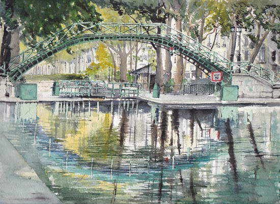 aquarelle canal st martin
