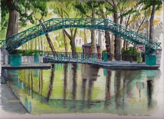 aquarelle canal saint martin