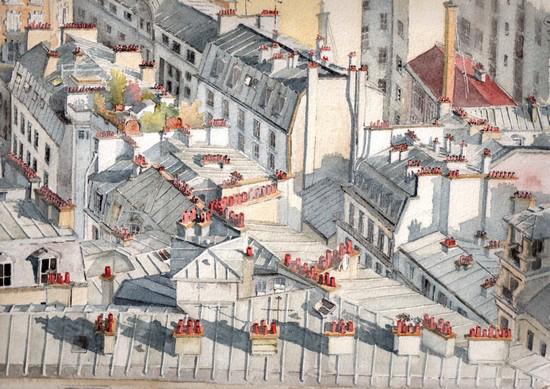 dessin toits de paris