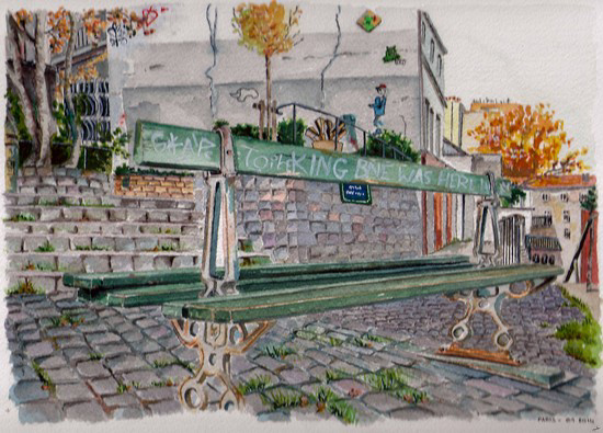 aquarelle rue montmartre