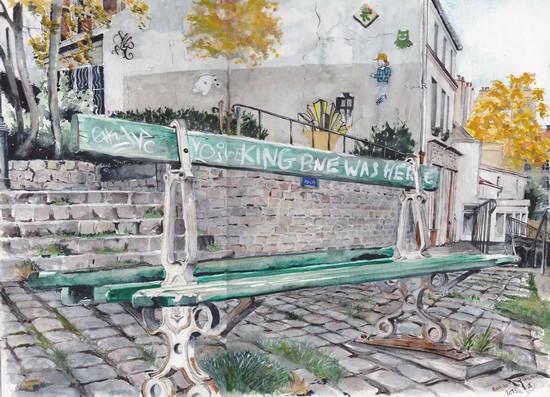 banc montmarte aquarelle