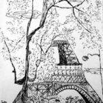 Croquis de la tour Eiffel par Bérénice Beaube