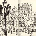 Croquis devant le Louvre par Nick Richards