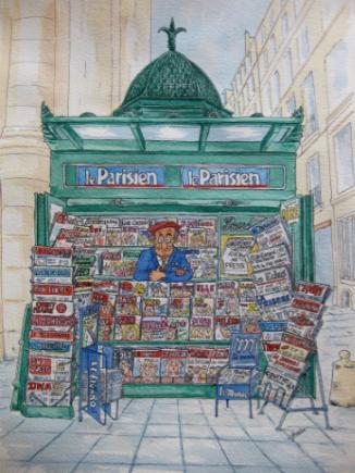 dessin kiosque paris