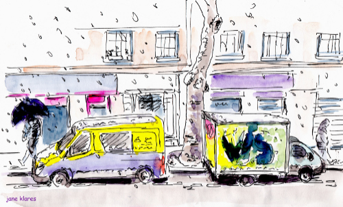 dessin rue paris neige