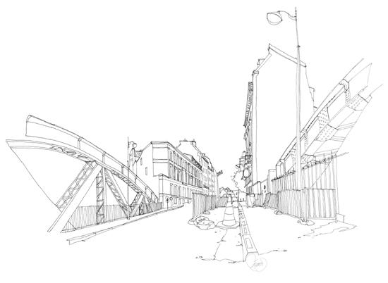 pont aqueduc dessin paris
