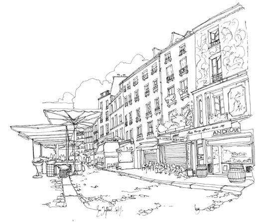 marche rue mouffetard dessin