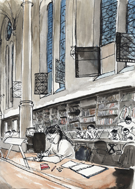 dessin bibliotheque musee arts métiers