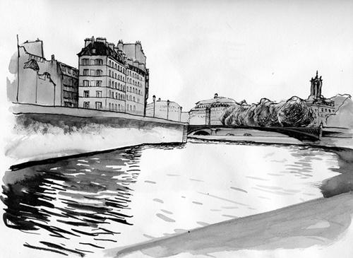 dessin quais de seine