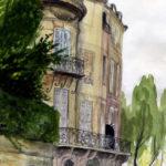Aquarelle du quai d'Anjou par Justine Gasquet