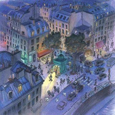 dessin paris nuit