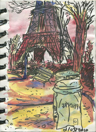 dessin jardin trocadero tour eiffel