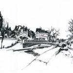 Croquis du pont au Double par Jacques Caspar